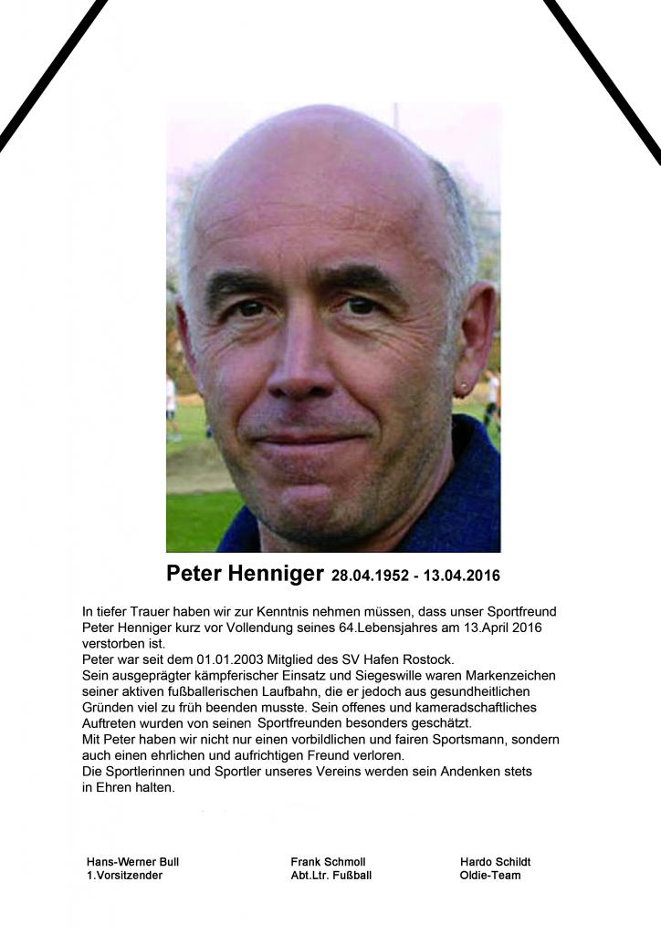 Nachruf Peter Henniger